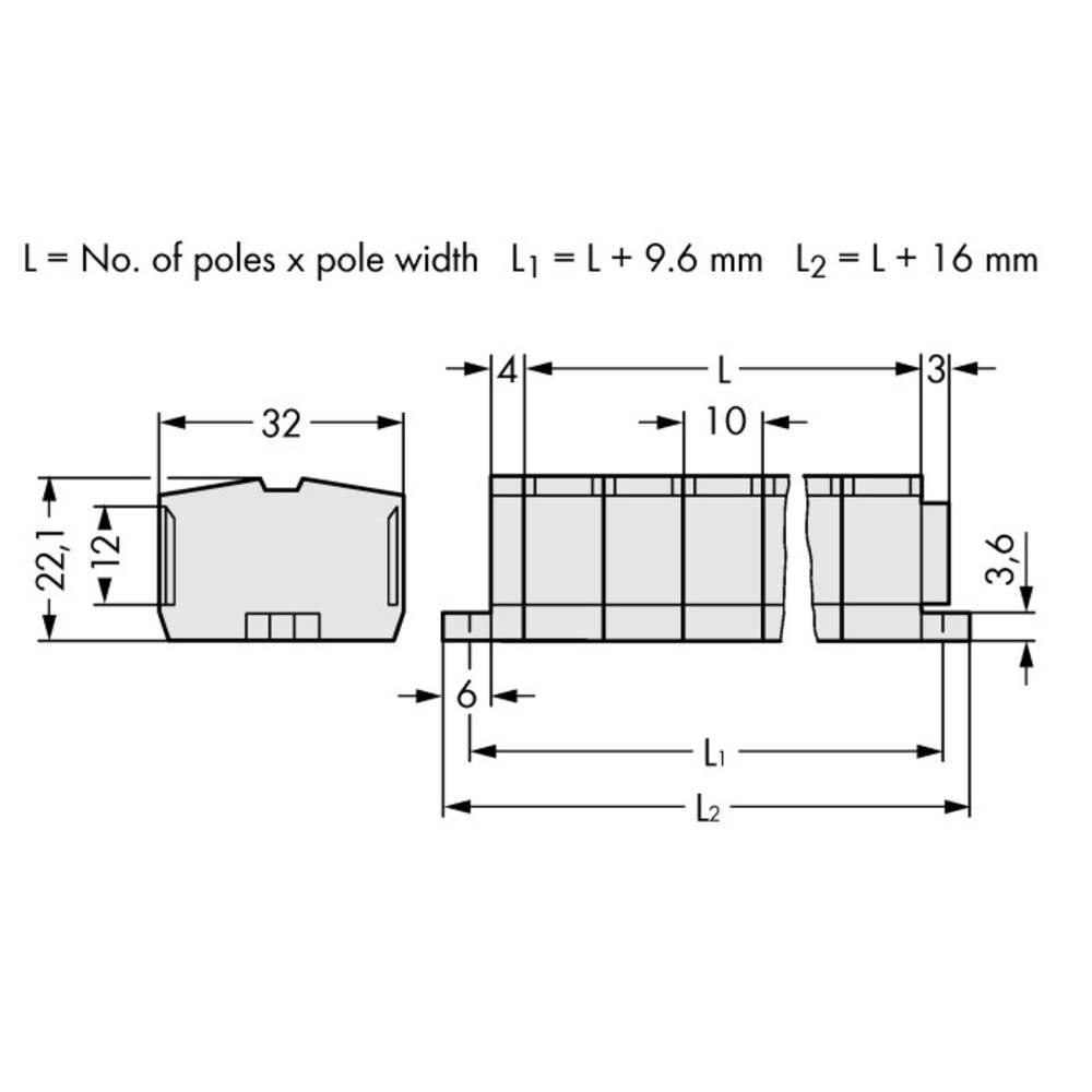 Klemmerække 10 mm Trækfjeder Belægning: L Grå WAGO 264-237 50 stk