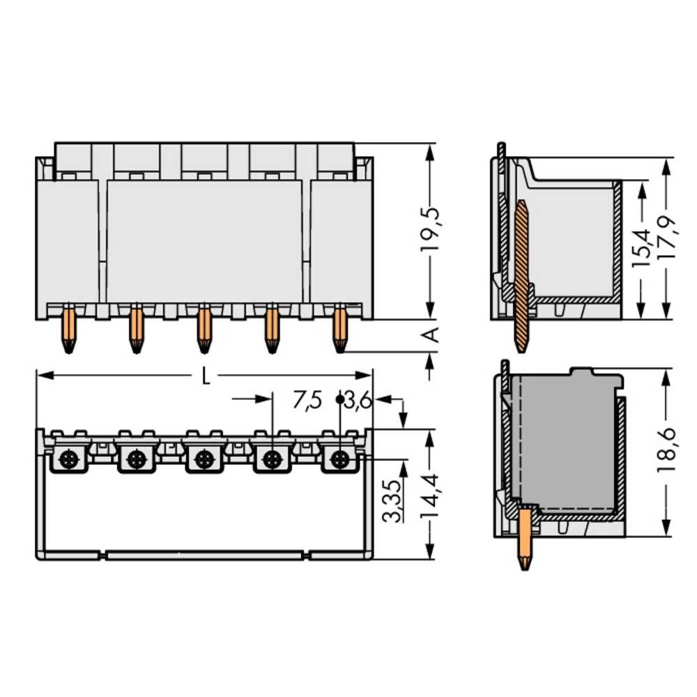 Stiftkabinet-printplade 2092 (value.1360466) Samlet antal poler 2 WAGO 2092-3402/200-000 Rastermål: 7.50 mm 100 stk
