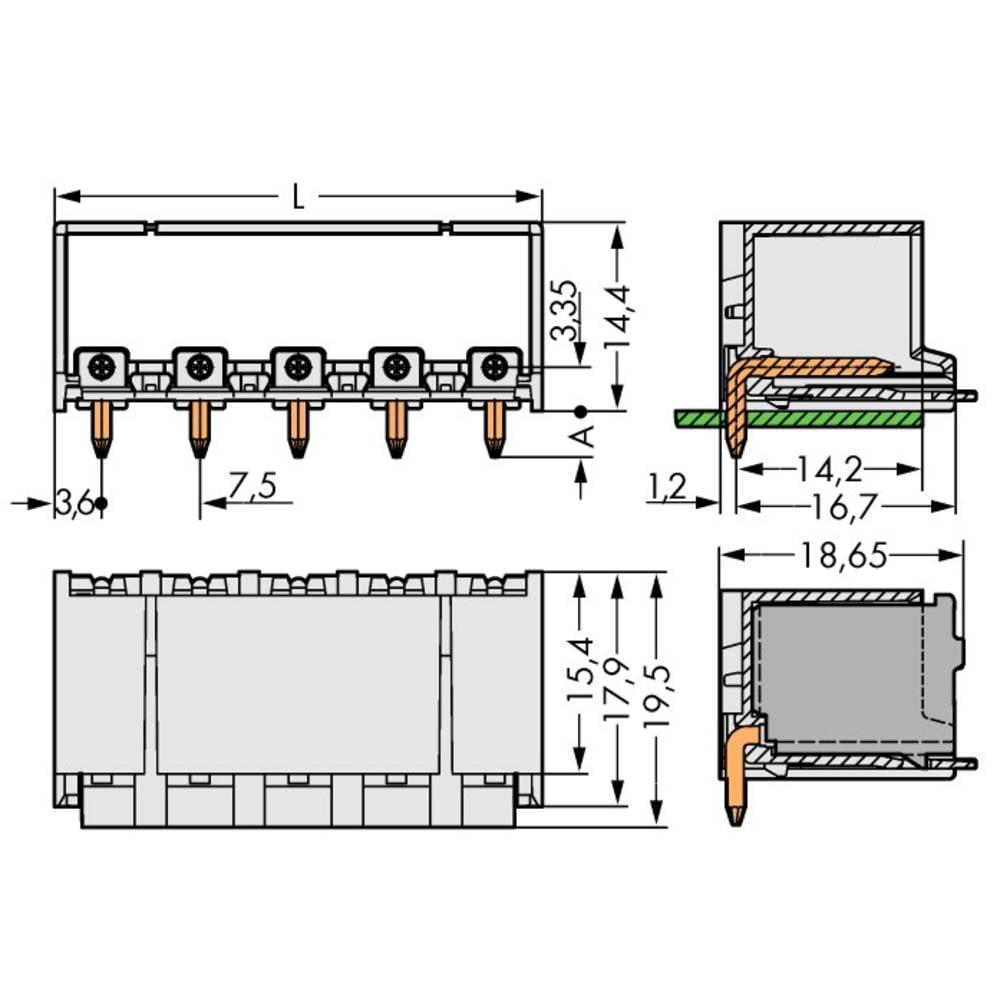 Stiftkabinet-printplade 2092 (value.1360466) Samlet antal poler 2 WAGO 2092-3422/200-000 Rastermål: 7.50 mm 100 stk