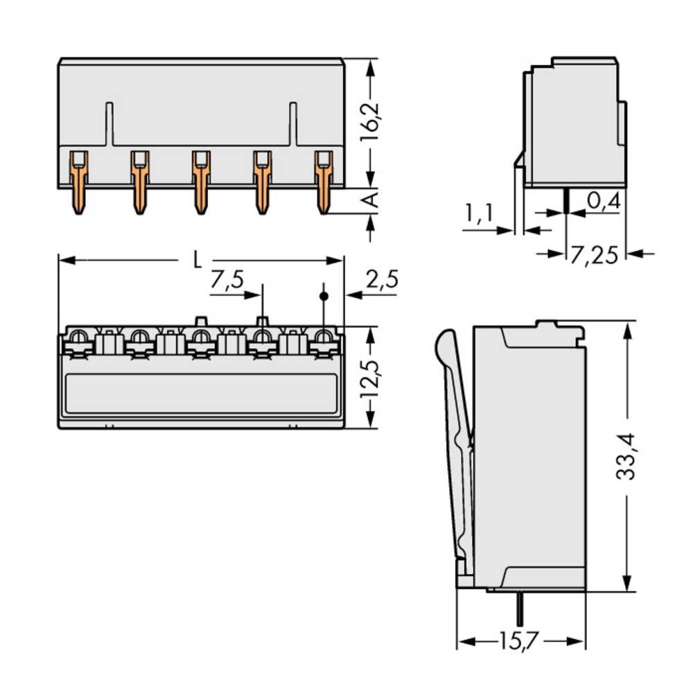 Tilslutningskabinet-printplade 2092 (value.1360466) Samlet antal poler 5 WAGO 2092-3305 Rastermål: 7.50 mm 100 stk