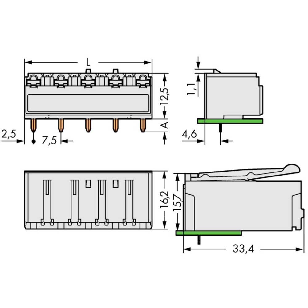 Tilslutningskabinet-printplade 2092 (value.1360466) Samlet antal poler 3 WAGO 2092-3323 Rastermål: 7.50 mm 100 stk