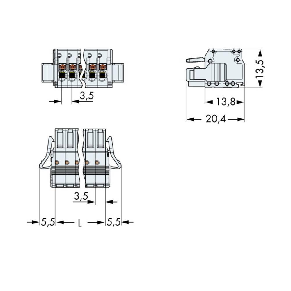 Tilslutningskabinet-kabel 2734 Samlet antal poler 13 WAGO 2734-113/037-000 Rastermål: 3.50 mm 25 stk