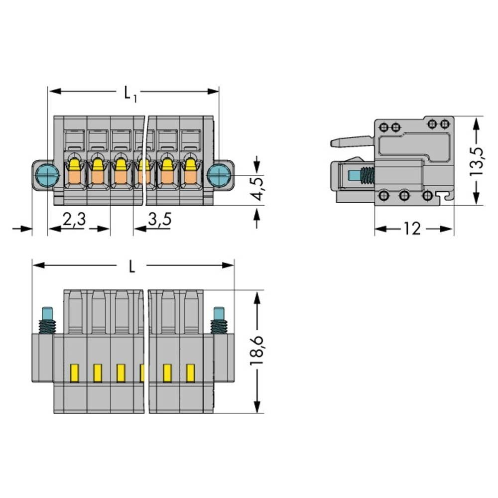 Tilslutningskabinet-kabel 2734 (value.1360635) Samlet antal poler 7 WAGO 2734-107/107-000 Rastermål: 3.50 mm 50 stk