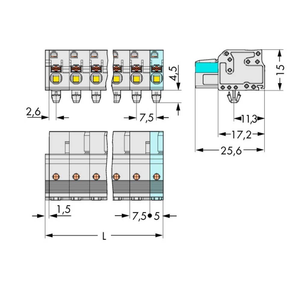 Tilslutningskabinet-kabel 2721 (value.1360865) Samlet antal poler 9 WAGO 2721-209/008-000 Rastermål: 7.50 mm 25 stk