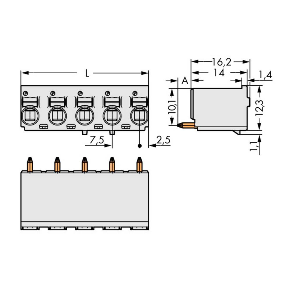 Stiftkabinet-printplade 2092 (value.1360466) Samlet antal poler 4 WAGO 2092-3174 Rastermål: 7.50 mm 100 stk