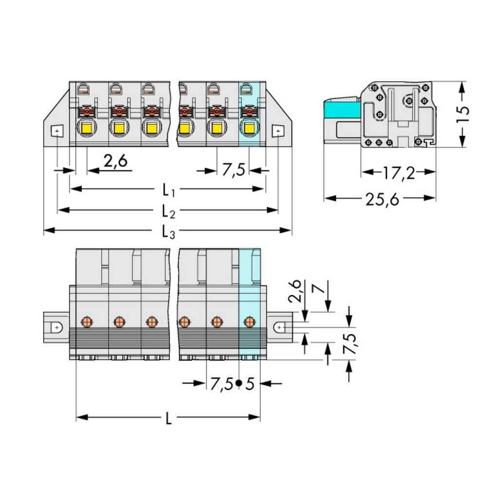 Tilslutningskabinet-kabel 2721 (value.1360865) Samlet antal poler 3 WAGO 2721-203/031-000 Rastermål: 7.50 mm 50 stk