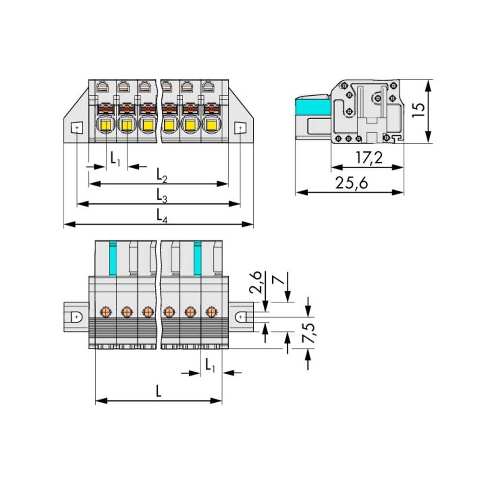 Tilslutningskabinet-kabel 2721 (value.1360865) Samlet antal poler 16 WAGO 2721-116/031-000 Rastermål: 5 mm 10 stk