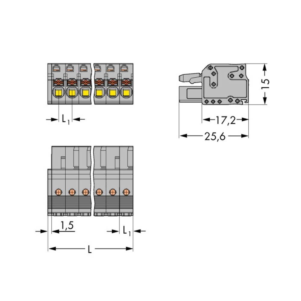Tilslutningskabinet-kabel 2231 (value.1360950) Samlet antal poler 3 WAGO 2231-103/026-000/133-000 Rastermål: 5 mm 50 stk