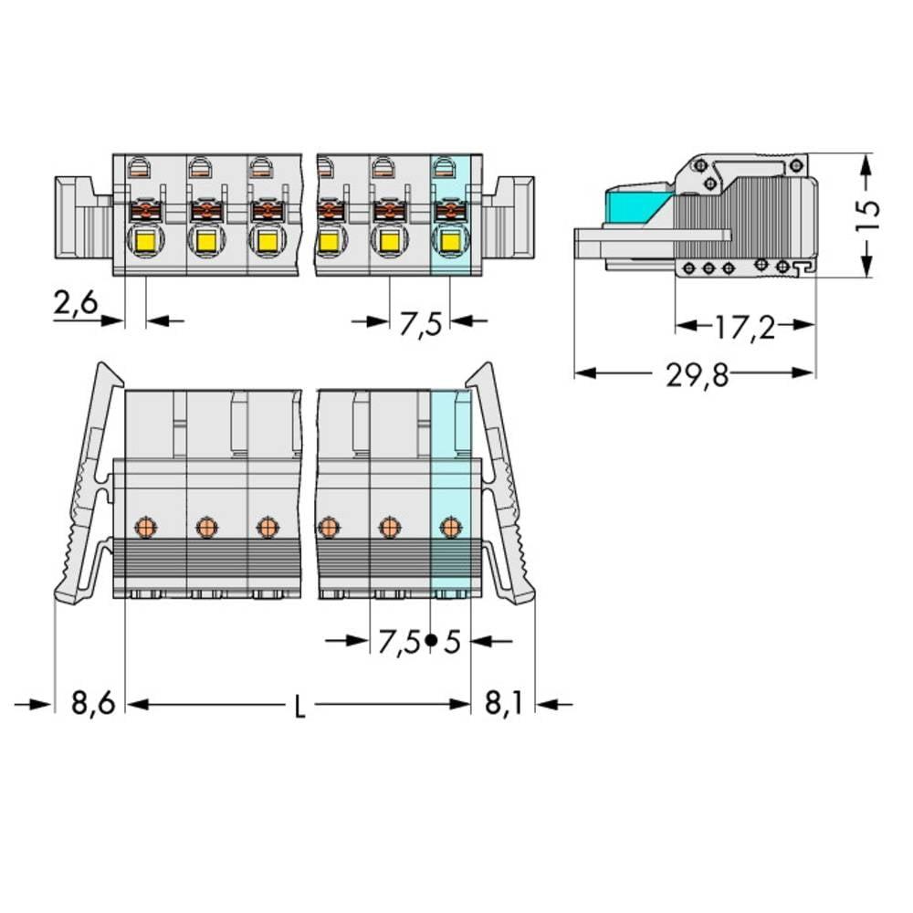 Tilslutningskabinet-kabel 2721 Samlet antal poler 4 WAGO 2721-204/037-000 Rastermål: 7.50 mm 50 stk