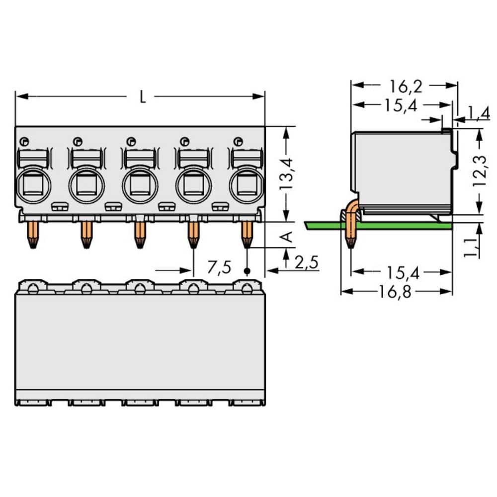 Tilslutningskabinet-printplade 2092 Samlet antal poler 5 WAGO 2092-3355 Rastermål: 7.50 mm 100 stk