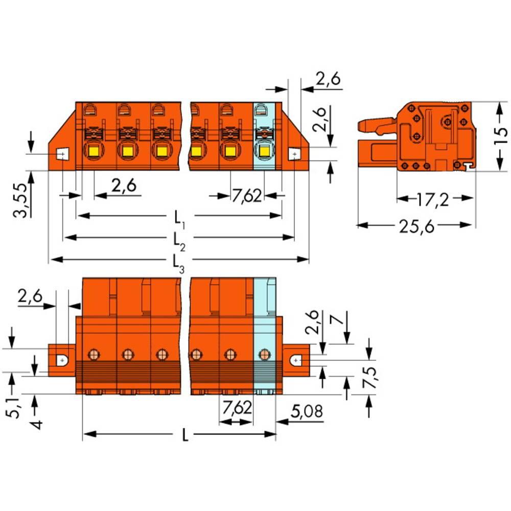 Tilslutningskabinet-kabel 2231 Samlet antal poler 8 WAGO 2231-708/031-000 Rastermål: 7.62 mm 25 stk