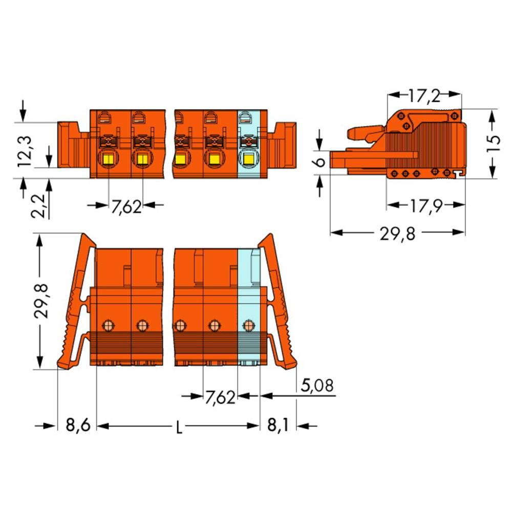 Tilslutningskabinet-kabel 2231 (value.1360950) Samlet antal poler 4 WAGO 2231-704/037-000 Rastermål: 7.62 mm 50 stk