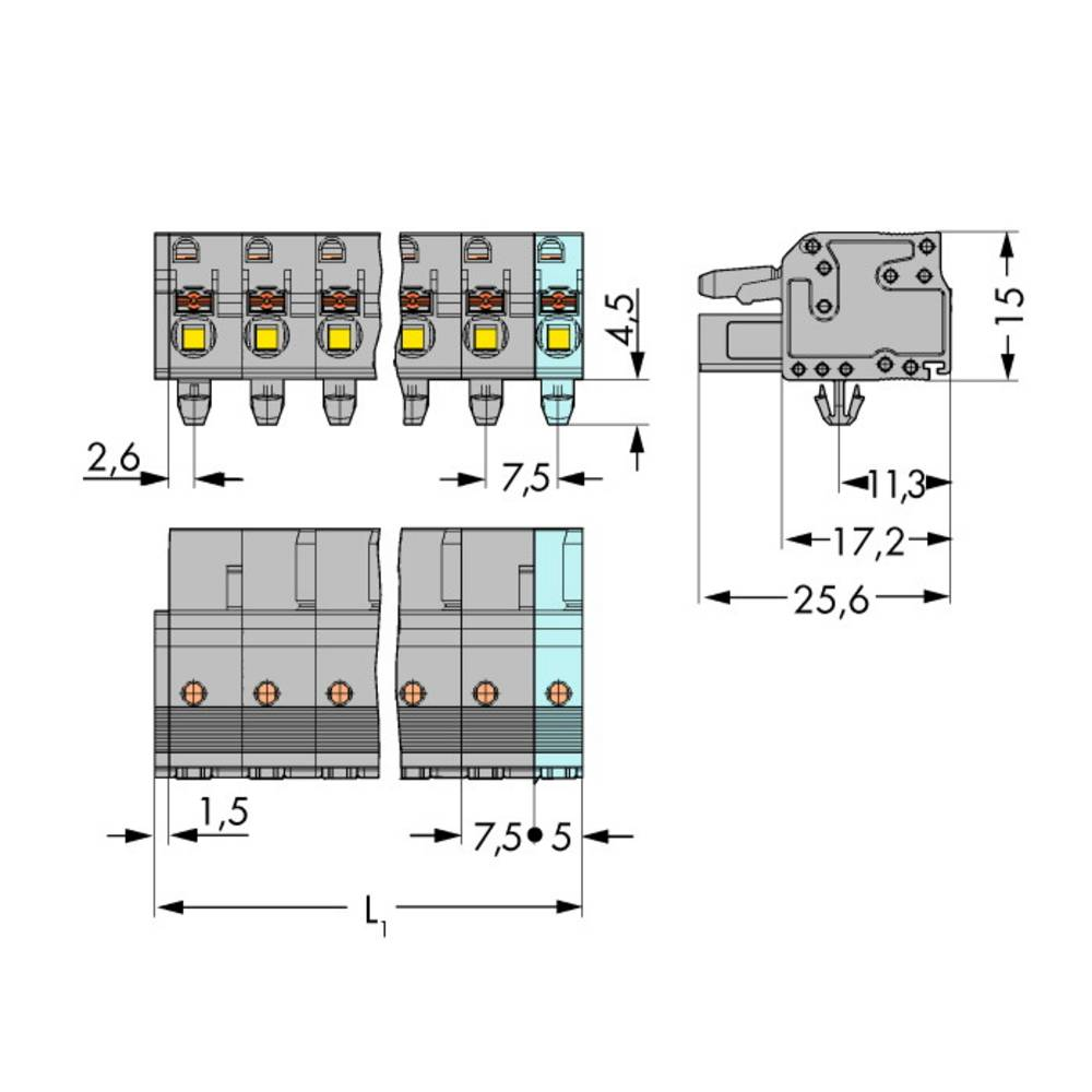 Tilslutningskabinet-kabel 2231 (value.1360950) Samlet antal poler 7 WAGO 2231-207/008-000 Rastermål: 7.50 mm 50 stk