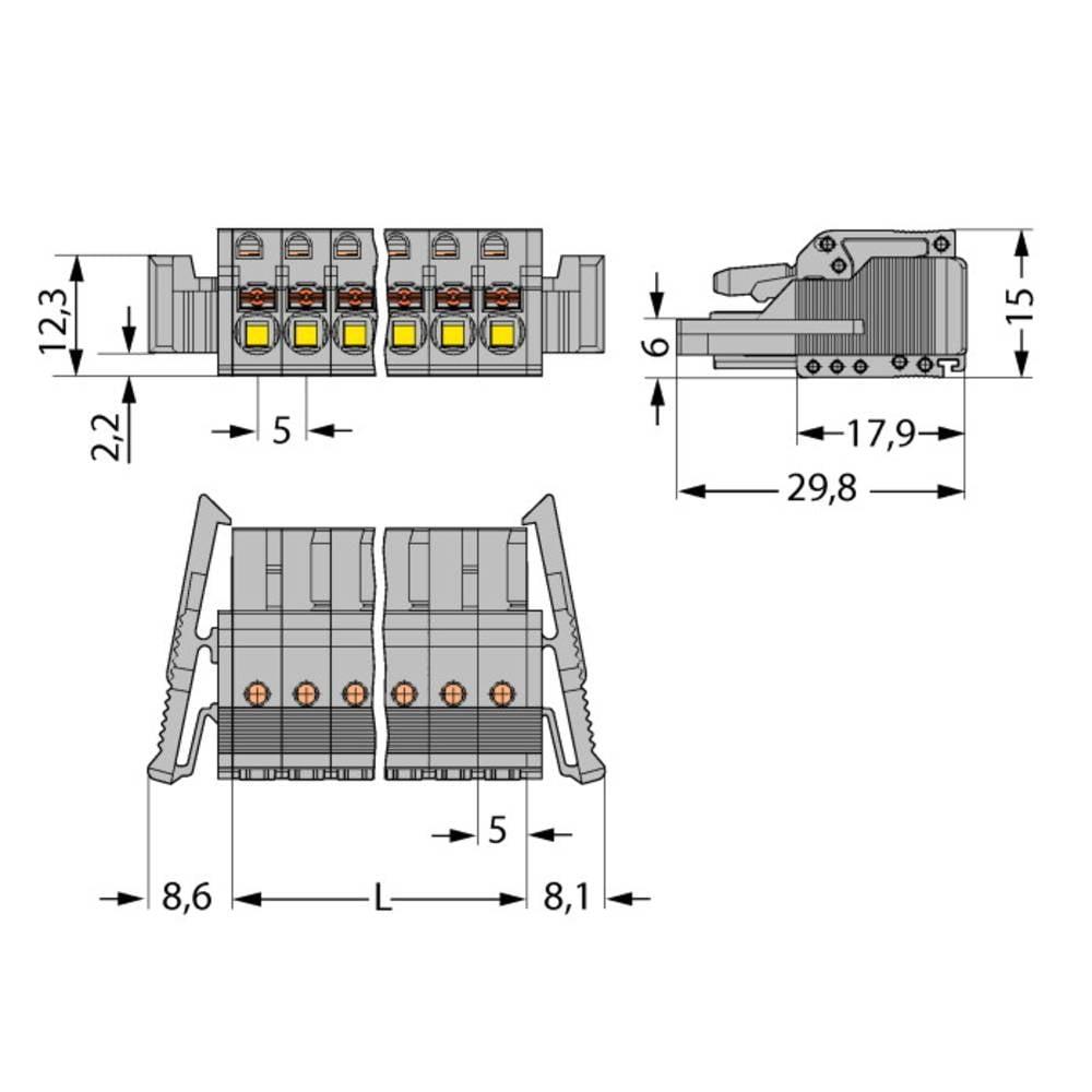 Tilslutningskabinet-kabel 2231 Samlet antal poler 3 WAGO 2231-103/037-000 Rastermål: 5 mm 50 stk