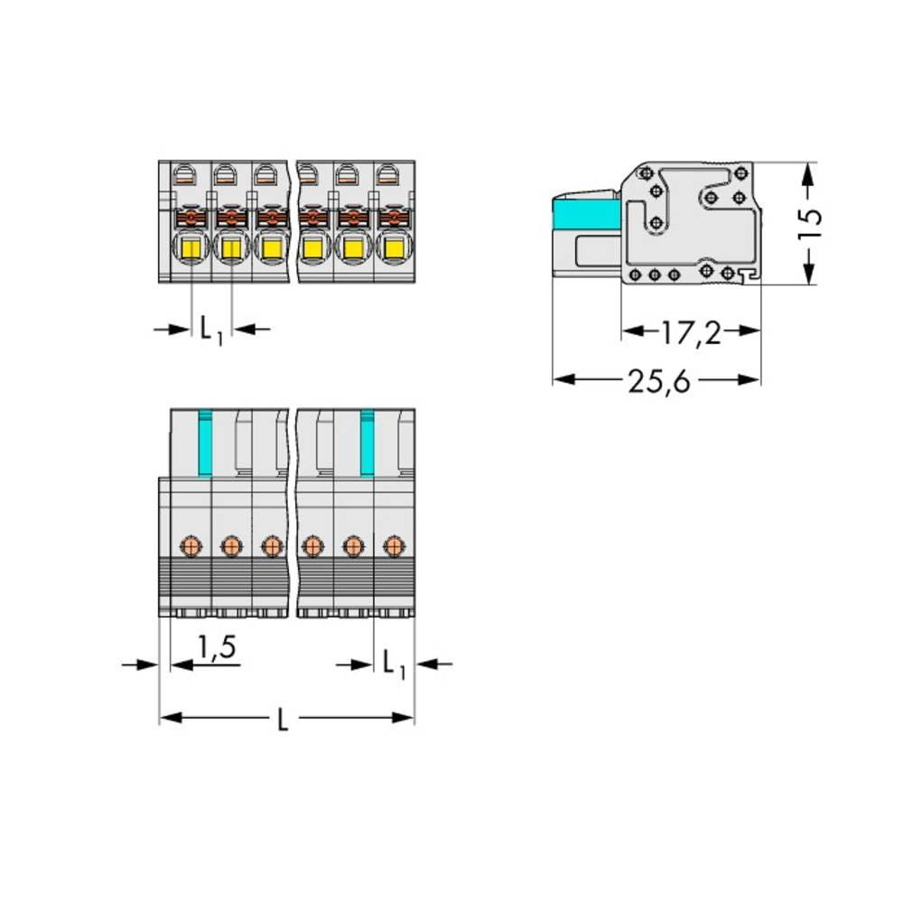 Tilslutningskabinet-kabel 2721 Samlet antal poler 14 WAGO 2721-114/026-000 Rastermål: 5 mm 25 stk