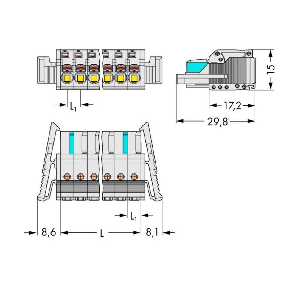 Tilslutningskabinet-kabel 2721 Samlet antal poler 4 WAGO 2721-104/037-000 Rastermål: 5 mm 50 stk