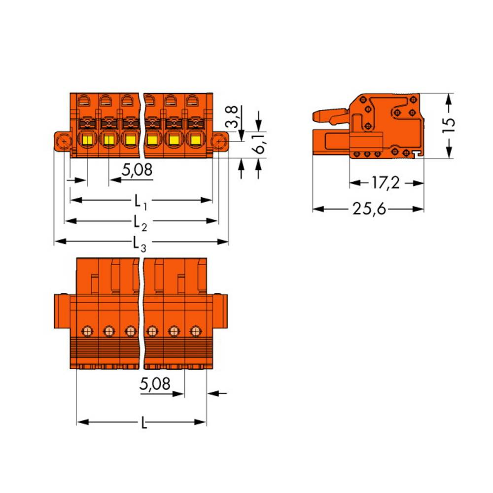 Tilslutningskabinet-kabel 2231 Samlet antal poler 4 WAGO 2231-304/107-000 Rastermål: 5.08 mm 50 stk