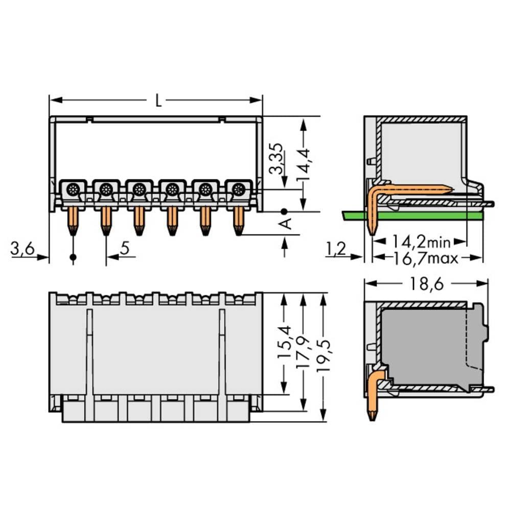 Stiftkabinet-printplade 2092 (value.1360466) Samlet antal poler 5 WAGO 2092-1425 Rastermål: 5 mm 100 stk