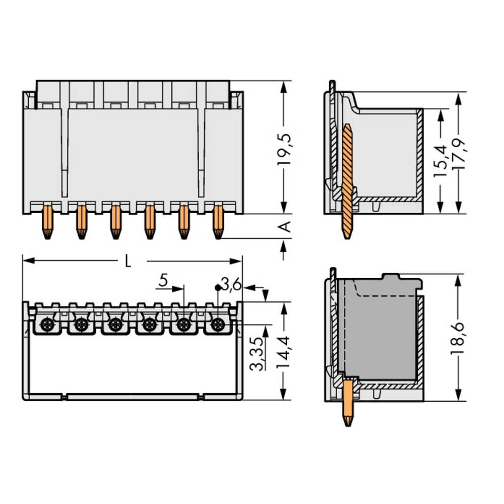 Stiftkabinet-printplade 2092 (value.1360466) Samlet antal poler 8 WAGO 2092-1408 Rastermål: 5 mm 100 stk