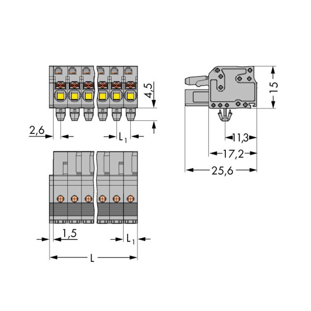 Tilslutningskabinet-kabel 2231 Samlet antal poler 4 WAGO 2231-104/008-000 Rastermål: 5 mm 100 stk