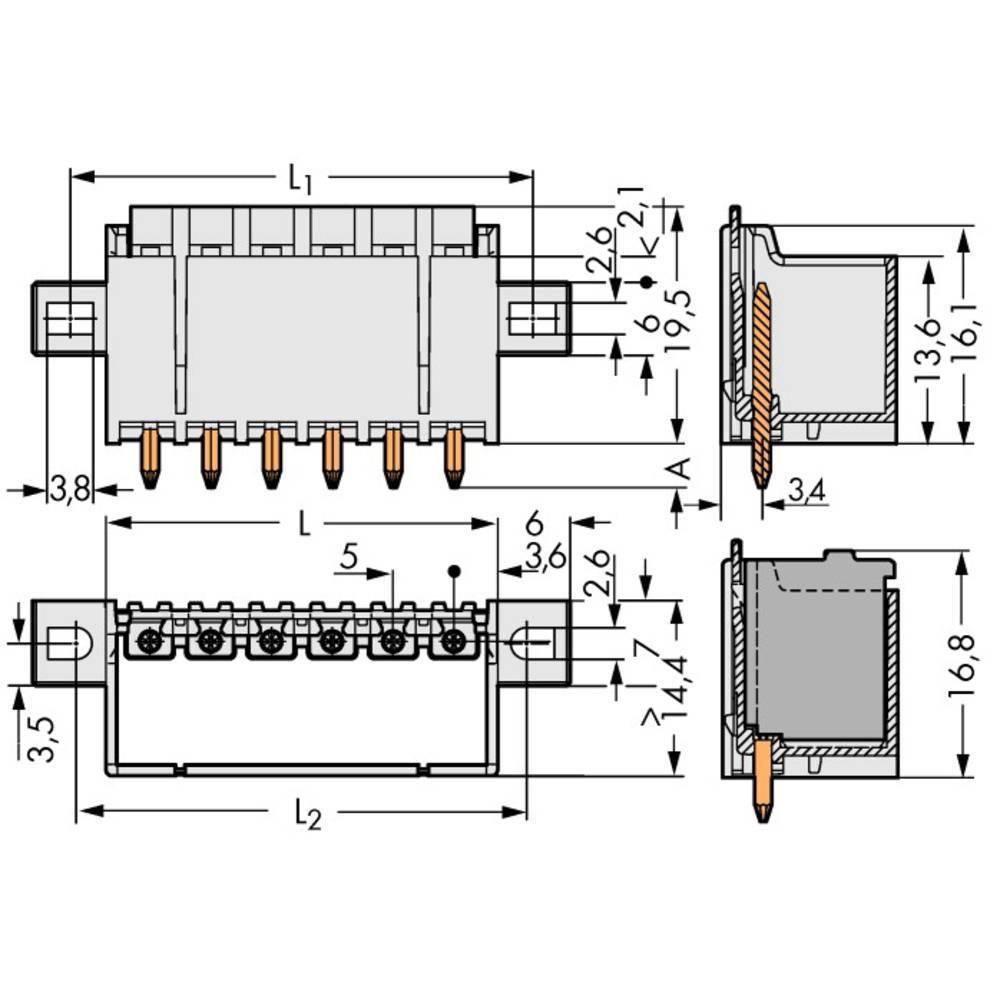 Stiftkabinet-printplade 2092 Samlet antal poler 2 WAGO 2092-1402/205-000 Rastermål: 5 mm 200 stk