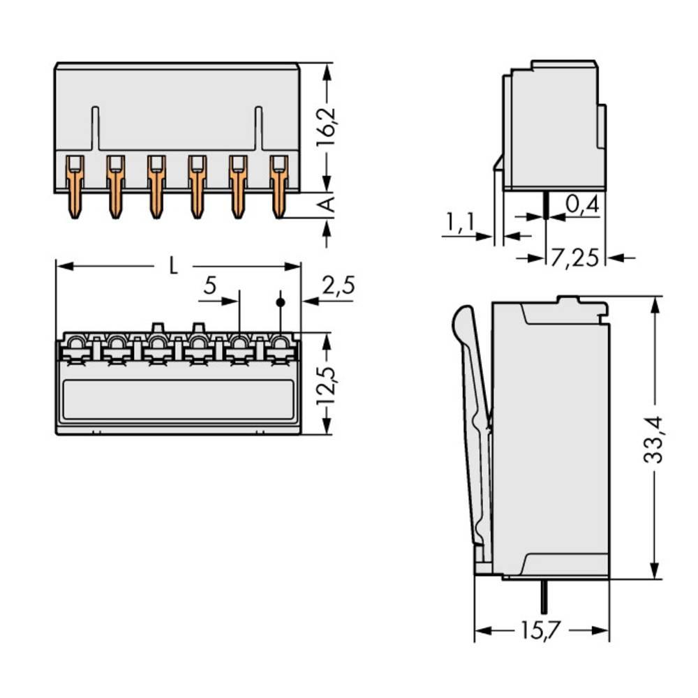 Tilslutningskabinet-printplade 2092 (value.1360466) Samlet antal poler 2 WAGO 2092-1302 Rastermål: 5 mm 200 stk