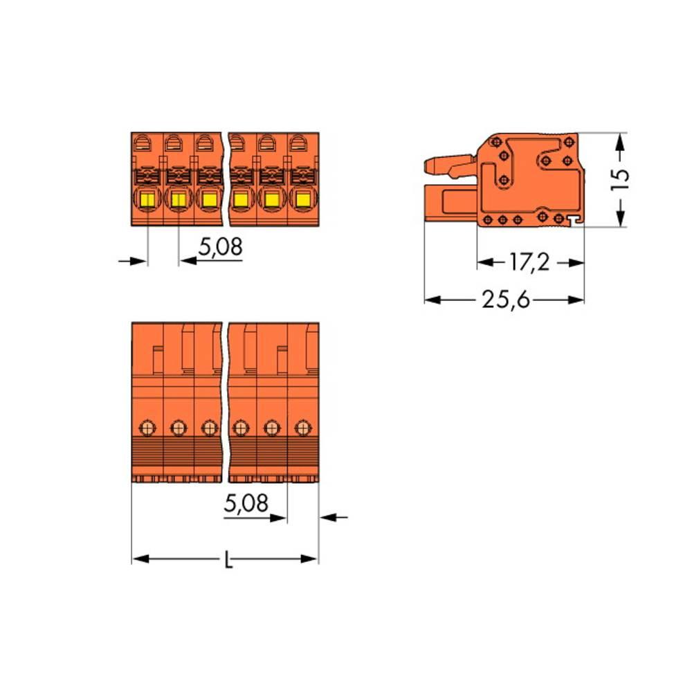Tilslutningskabinet-kabel 2231 Samlet antal poler 15 WAGO 2231-315/102-000 Rastermål: 5.08 mm 25 stk