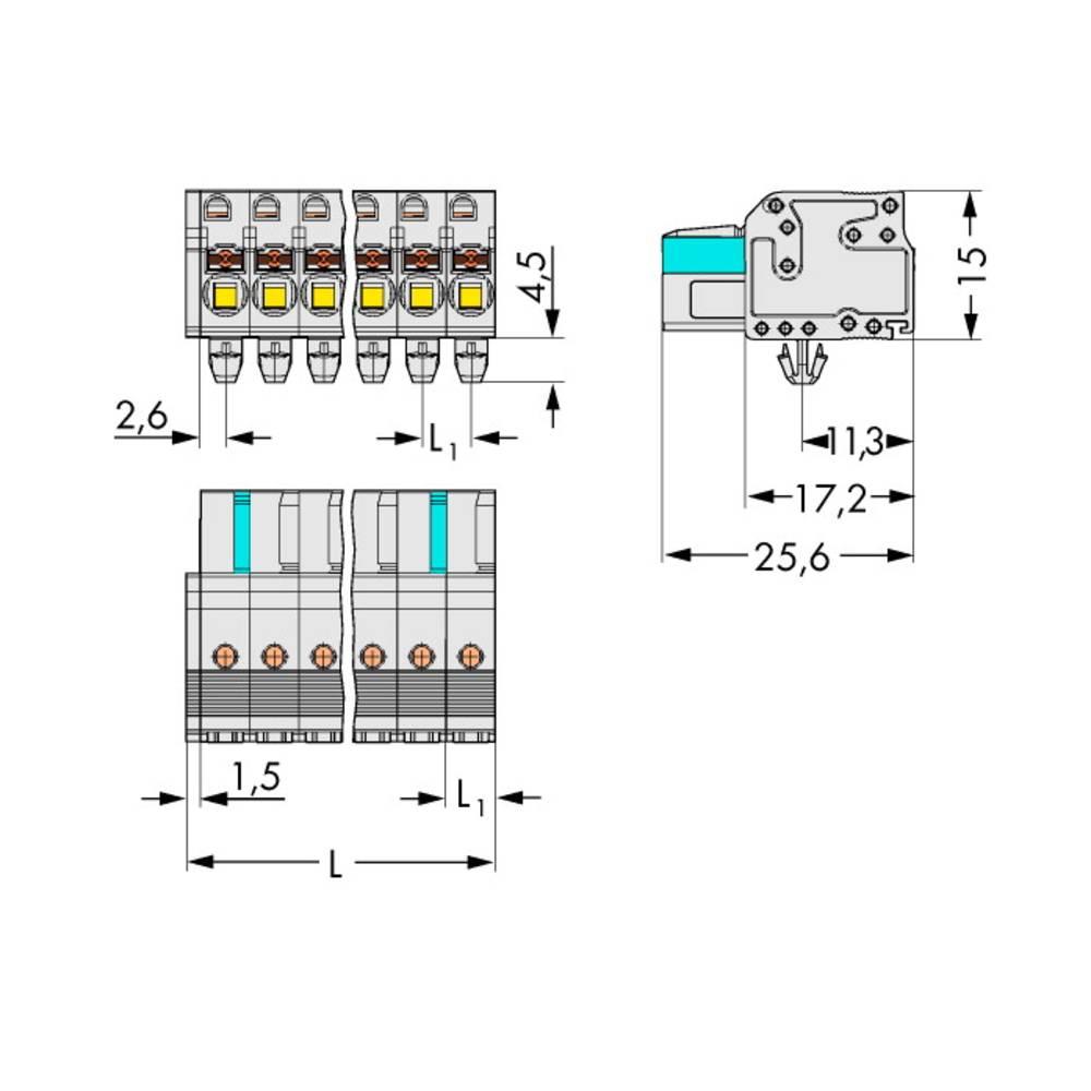 Tilslutningskabinet-kabel 2721 Samlet antal poler 10 WAGO 2721-110/008-000 Rastermål: 5 mm 50 stk