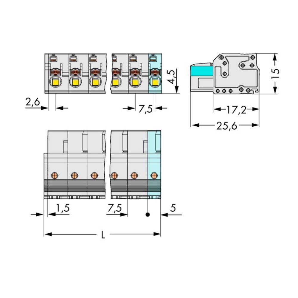 Tilslutningskabinet-kabel 2721 Samlet antal poler 5 WAGO 2721-205/026-000 Rastermål: 7.50 mm 50 stk