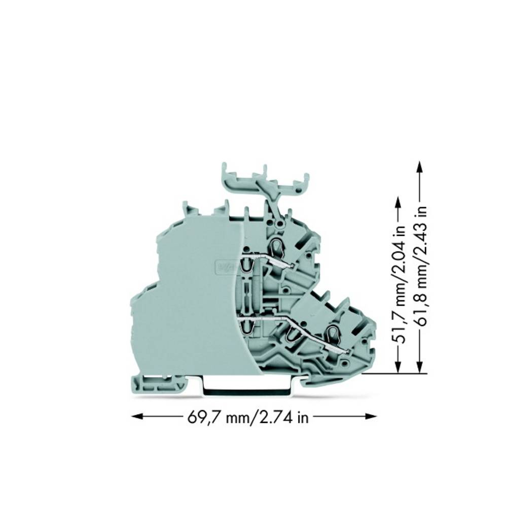 Dobbeltlags-gennemgangsklemme 4.20 mm Trækfjeder Belægning: L, L Grå WAGO 2000-2231/099-000 50 stk