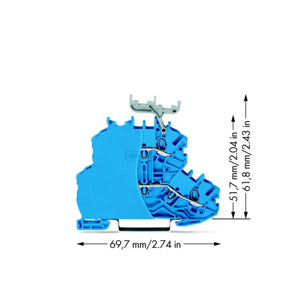 Dobbeltlags-gennemgangsklemme 4.20 mm Trækfjeder Belægning: N Blå WAGO 2000-2234/099-000 50 stk