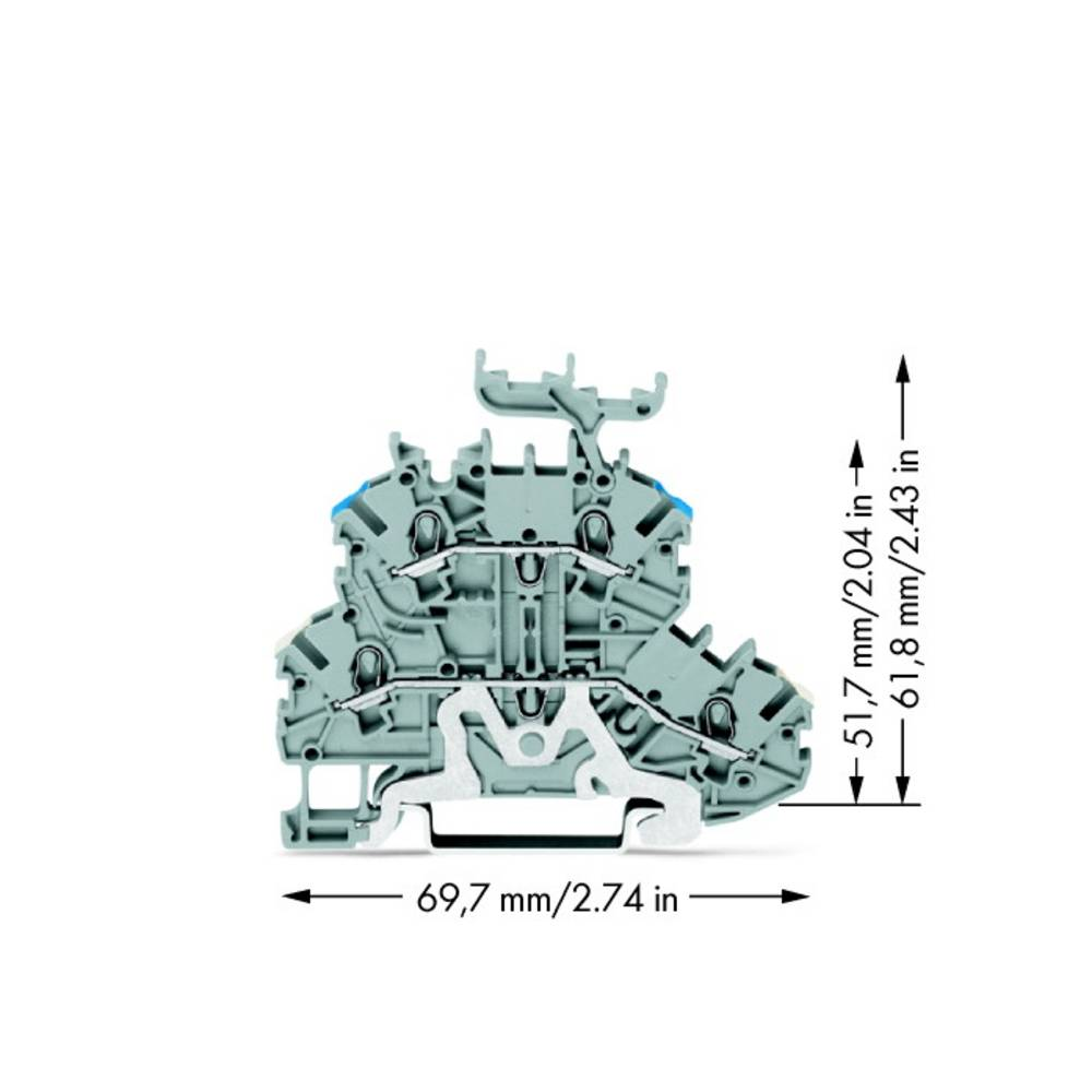 Dobbeltlags-gennemgangsklemme 3.50 mm Trækfjeder Belægning: L Grå WAGO 2000-2248 50 stk