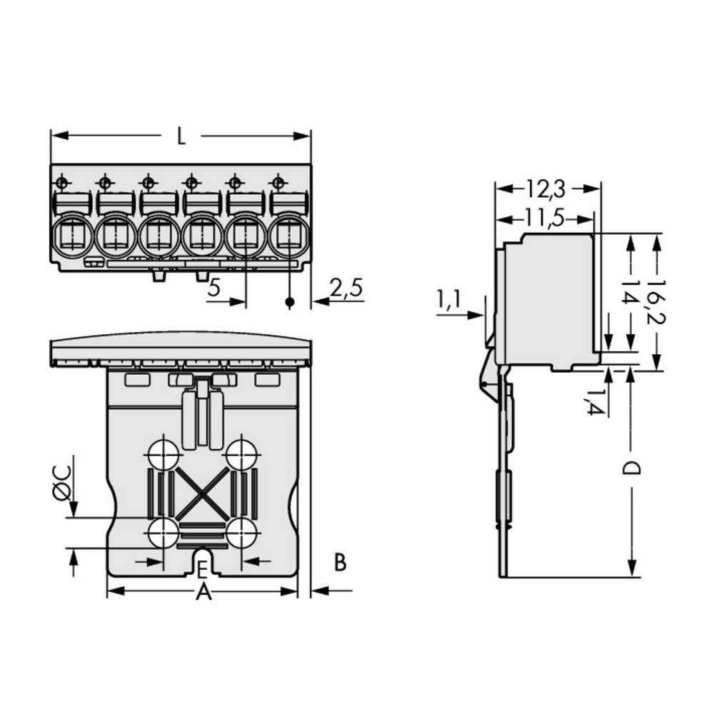 Stiftkabinet-printplade 2092 (value.1360466) Samlet antal poler 3 WAGO 2092-1103/002-000 Rastermål: 5 mm 200 stk