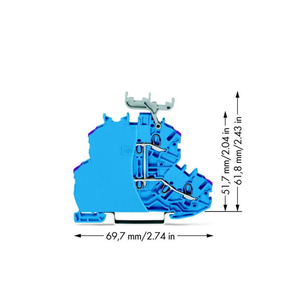 Dobbeltlags-gennemgangsklemme 4.20 mm Trækfjeder Belægning: N Blå WAGO 2000-2239/099-000 50 stk