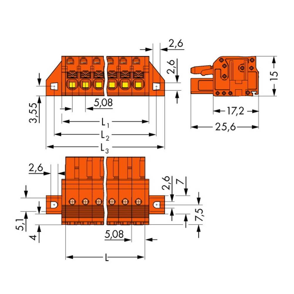 Tilslutningskabinet-kabel 2231 (value.1360950) Samlet antal poler 23 WAGO 2231-323/031-000 Rastermål: 5.08 mm 10 stk