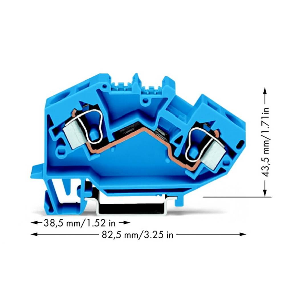 Gennemgangsklemme 10 mm Trækfjeder Belægning: N Blå WAGO 784-604 25 stk
