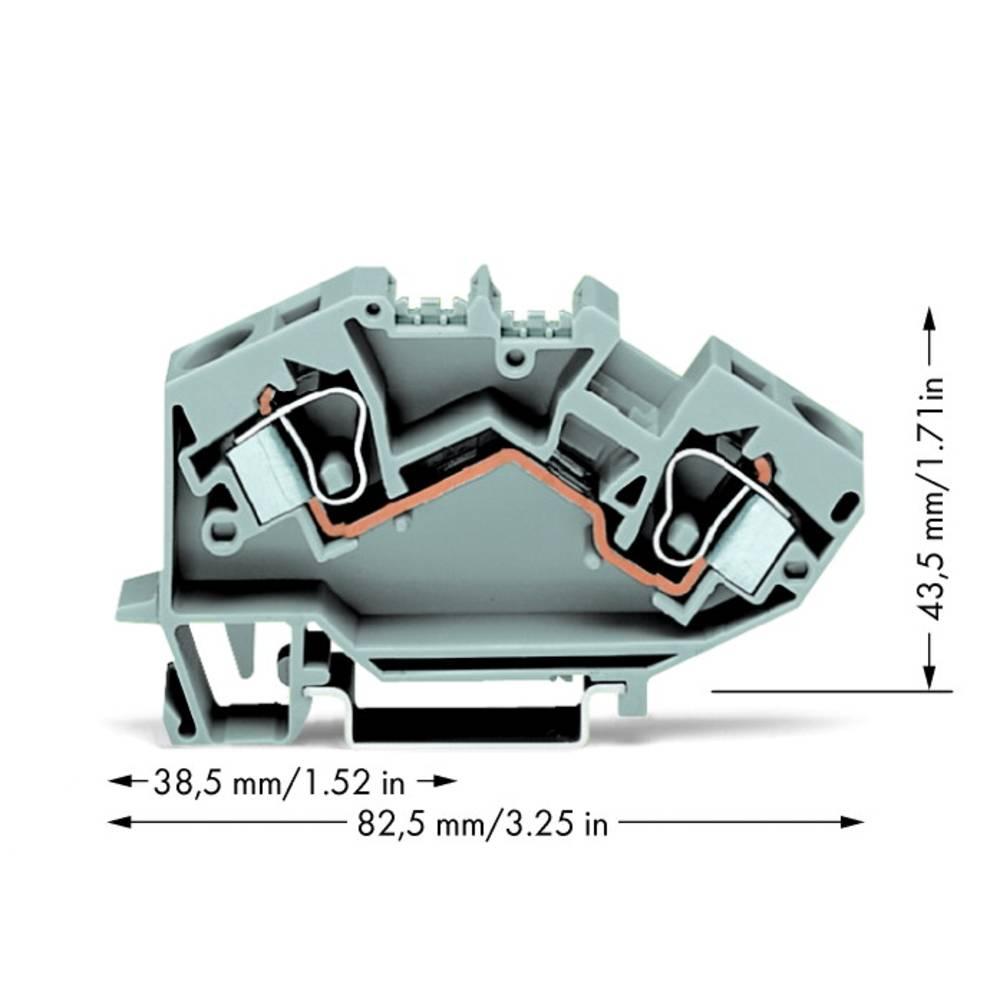 Gennemgangsklemme 10 mm Trækfjeder Belægning: L Grå WAGO 784-601 25 stk