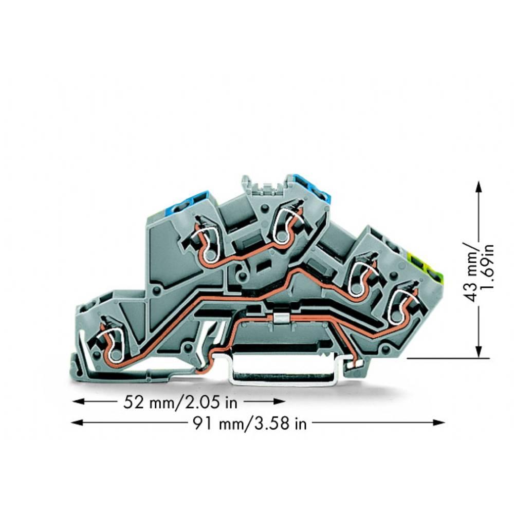 installations-etageklemme 5 mm Trækfjeder Belægning: N, L, Terre Grå WAGO 775-646 50 stk