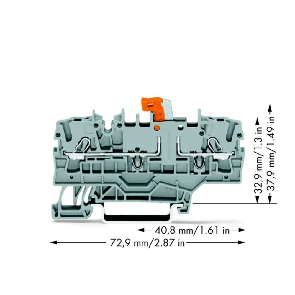 Skilleklemme 5.20 mm Trækfjeder Grå WAGO 2002-1971 50 stk
