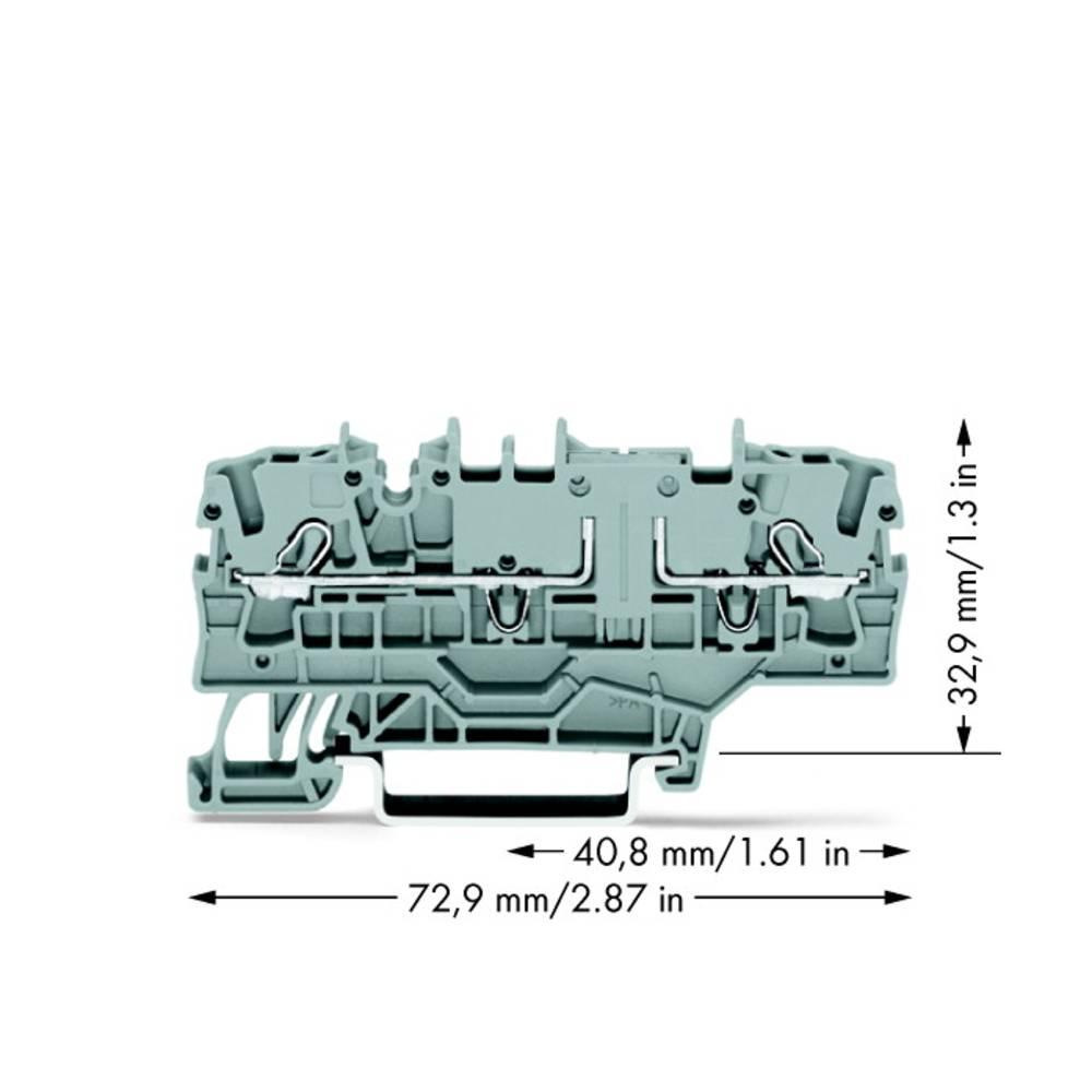 Gennemgangsklemme 5.20 mm Trækfjeder Belægning: L Grå WAGO 2002-1901 50 stk