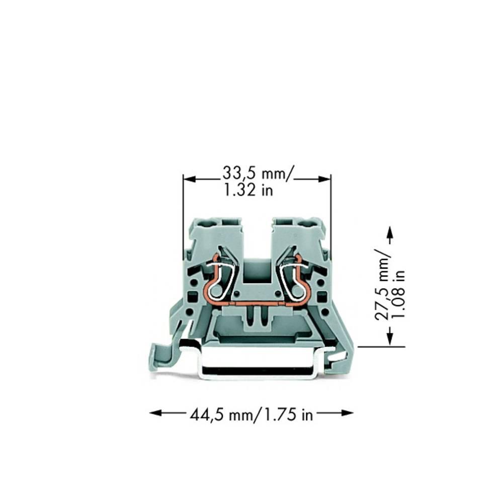 Gennemgangsklemme 5 mm Trækfjeder Belægning: L Grå WAGO 870-901 100 stk