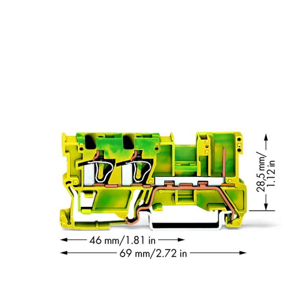 Basisklemme 5 mm Trækfjeder Belægning: Terre Grøn-gul WAGO 769-257 50 stk