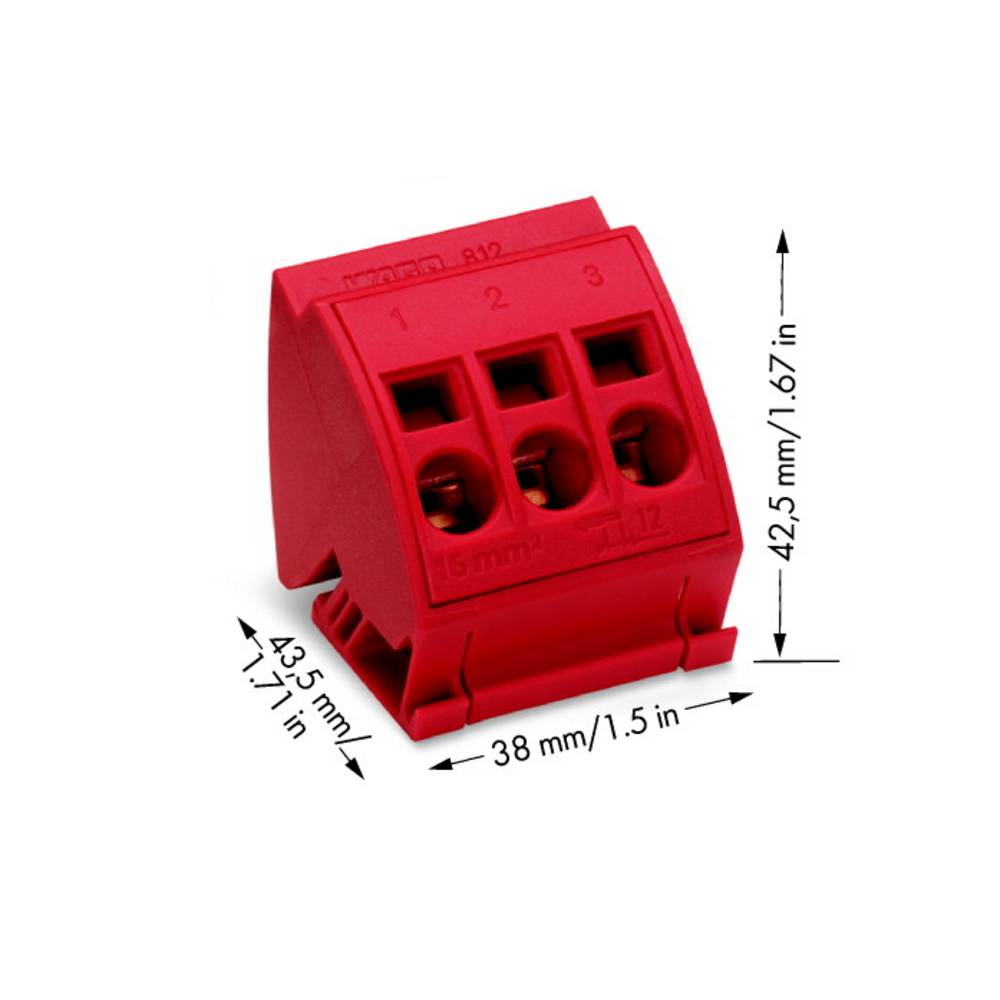 Klemrække 16 mm² WAGO 12 stk