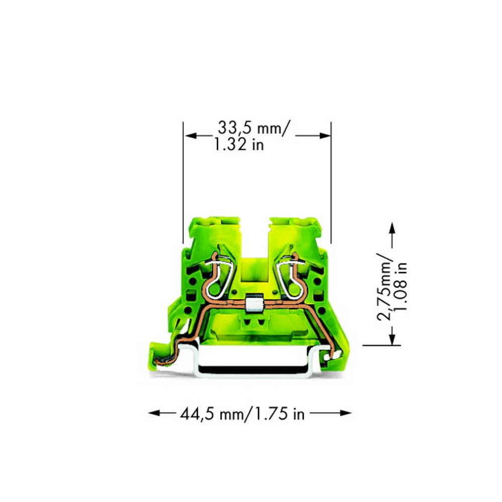 Jordklemme 5 mm Trækfjeder Belægning: Terre Grøn-gul WAGO 870-907 100 stk