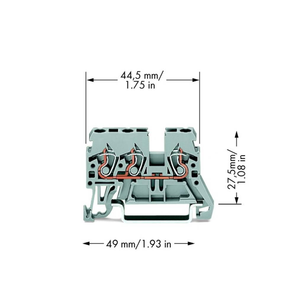 Gennemgangsklemme 5 mm Trækfjeder Belægning: L Grå WAGO 870-681 100 stk