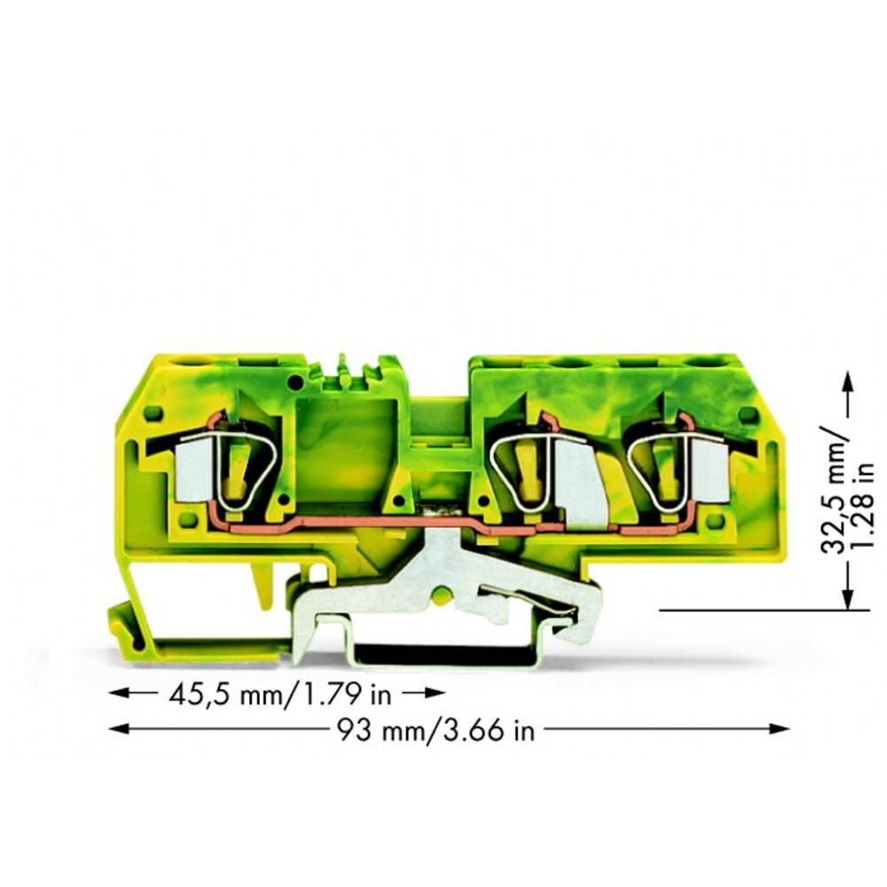 Jordklemme 8 mm Trækfjeder Belægning: Terre Grøn-gul WAGO 282-687/999-950 25 stk