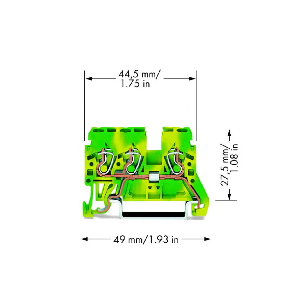 Jordklemme 5 mm Trækfjeder Belægning: Terre Grøn-gul WAGO 870-687 100 stk
