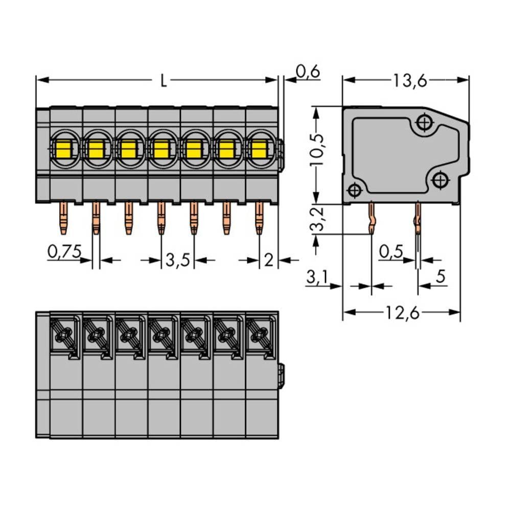 Fjederkraftsklemmeblok WAGO 1.50 mm² Poltal 7 Grå 180 stk