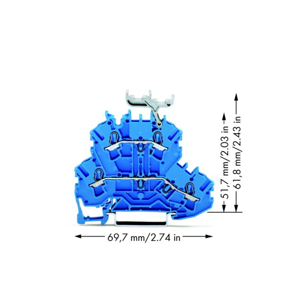 Dobbeltlags-gennemgangsklemme 5.20 mm Trækfjeder Belægning: N, N Blå WAGO 2002-2234 50 stk