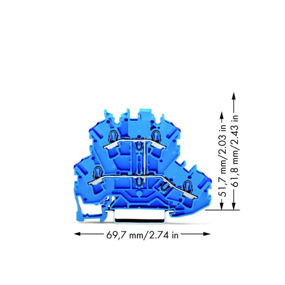 Dobbeltlags-gennemgangsklemme 5.20 mm Trækfjeder Belægning: N Blå WAGO 2002-2209 50 stk